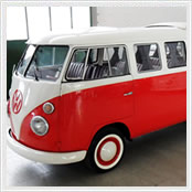 vw kombi sunroof white red